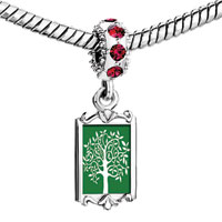 Charms Beads - red crystal dangle green backg white tree Image.