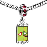 Charms Beads - red crystal dangle lovely birds on branch Image.