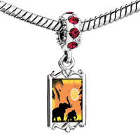 Charms Beads - red crystal dangle mom baby elephant strolling under the sun Image.