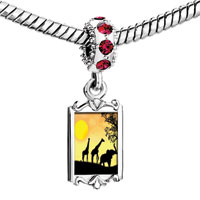 Charms Beads - red crystal dangle giraffes elephant strolling under the sun Image.