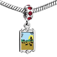 Charms Beads - red crystal dangle deer playing in the field Image.