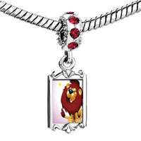 Charms Beads - red crystal dangle lovely lion Image.