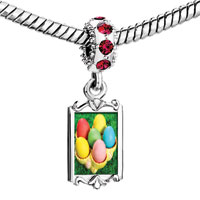 Charms Beads - red crystal dangle easter day colorful eggs on tray Image.