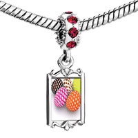 Charms Beads - red crystal dangle easter day colorful eggs dots Image.