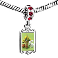 Charms Beads - red crystal dangle easter day bunny colorful eggs basket flowers Image.