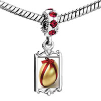 Charms Beads - red crystal dangle gold egg ribbon Image.