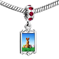 Charms Beads - red crystal dangle cute rabbit Image.