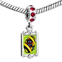 Charms Beads - red crystal dangle printed eggshell Image.