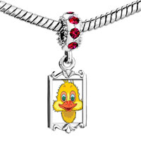 Charms Beads - red crystal dangle cute little yellow duck Image.