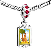 Charms Beads - red crystal dangle cute chicken Image.