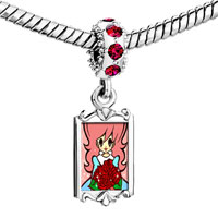 Charms Beads - red crystal dangle lovely girl holding rose bouquet Image.
