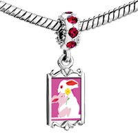 Charms Beads - red crystal dangle cute rabbit mother baby Image.