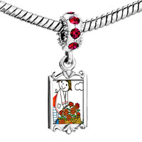 Charms Beads - red crystal dangle flowers cute little girl Image.
