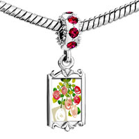 Charms Beads - red crystal dangle beautiful rose flowers Image.