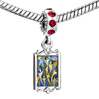 Charms Beads - red crystal dangle oil painting Image.