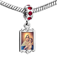 Charms Beads - red crystal dangle mother carrying baby Image.