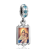 Aquamarine Crystal Dangle Mother Carrying Baby