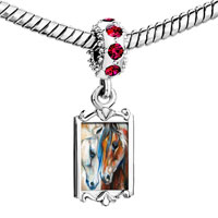 Charms Beads - red crystal dangle horses animal Image.