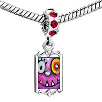 Charms Beads - red crystal dangle graffiti animal Image.