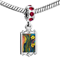 Charms Beads - red crystal dangle colorful grasscluster flowers Image.