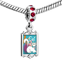 Charms Beads - red crystal dangle cute white cat Image.