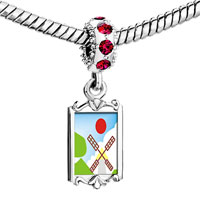 Charms Beads - red crystal dangle cute cartoon windmill Image.