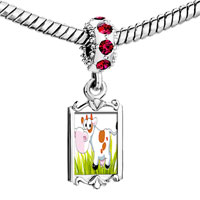 Charms Beads - red crystal dangle cute cattle Image.