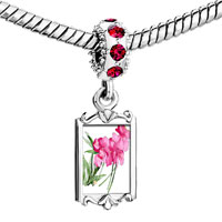 Charms Beads - red crystal dangle rose flower Image.