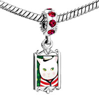 Charms Beads - red crystal dangle cute sailor cat Image.