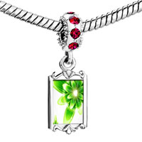 Charms Beads - red crystal dangle fresh green flower Image.
