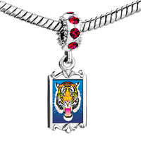 Charms Beads - red crystal dangle tiger head Image.
