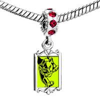 Charms Beads - red crystal dangle angry tiger Image.