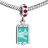 Charms Beads - red crystal dangle little husky dog Image.