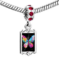 Charms Beads - red crystal dangle colorful butterfly Image.