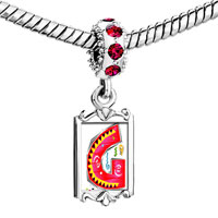 Charms Beads - red crystal dangle christmas gift letter g Image.