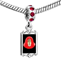 Charms Beads - red crystal dangle fire chief helmet Image.