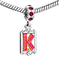 Charms Beads - red crystal dangle christmas gift letter k Image.
