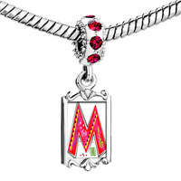Charms Beads - red crystal dangle christmas gift letter m Image.