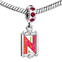 Charms Beads - red crystal dangle christmas gift letter n Image.