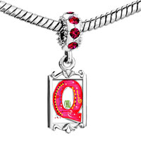 Charms Beads - red crystal dangle christmas gift letter q Image.
