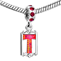 Charms Beads - red crystal dangle christmas gift letter t Image.