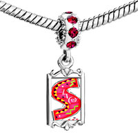 Charms Beads - red crystal dangle christmas gift letter s Image.