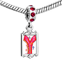 Charms Beads - red crystal dangle christmas gift letter y Image.