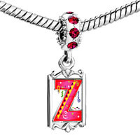 Charms Beads - red crystal dangle christmas gift letter z Image.