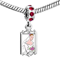 Charms Beads - red crystal dangle beautiful bride Image.