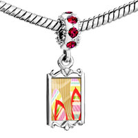 Charms Beads - red crystal dangle photo sals Image.