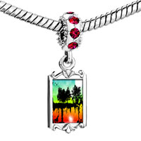 Charms Beads - red crystal dangle photo tree reflecting Image.