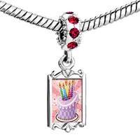 Charms Beads - red crystal dangle photo birthday cake Image.