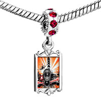 Charms Beads - red crystal dangle hiphop graffiti Image.
