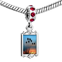 Charms Beads - red crystal dangle beautiful bushes in sunset Image.